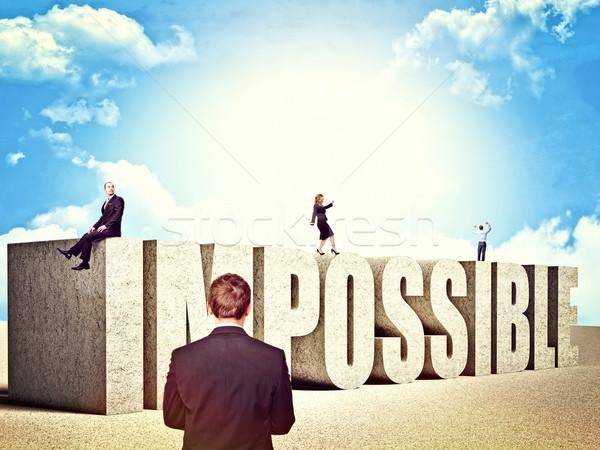 Onmogelijk zakenlieden woord vrouw wolken pak Stockfoto © tiero