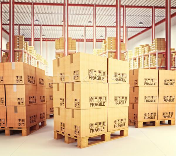 pallets in warehouse Stock photo © tiero