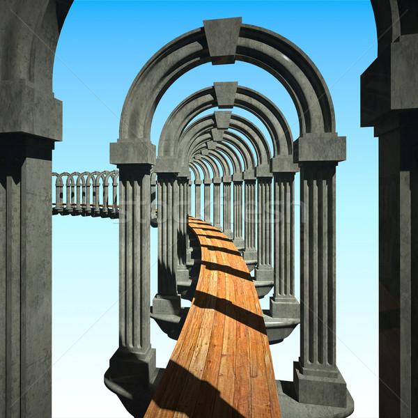 Beton porta fa út 3D absztrakt Stock fotó © tiero