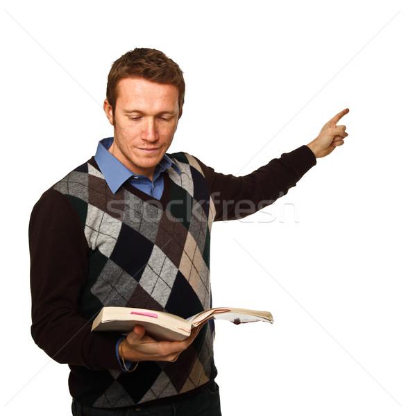 учитель белый молодые портрет книга изолированный Сток-фото © tiero