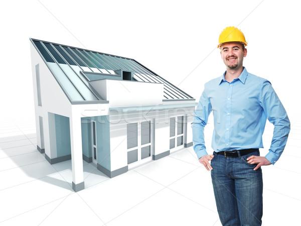 Arquitecto proyecto sonriendo casco 3D casa Foto stock © tiero