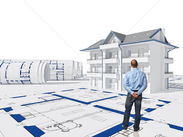 Photo stock: Maison · permanent · travailleur · vue · arrière · 3D