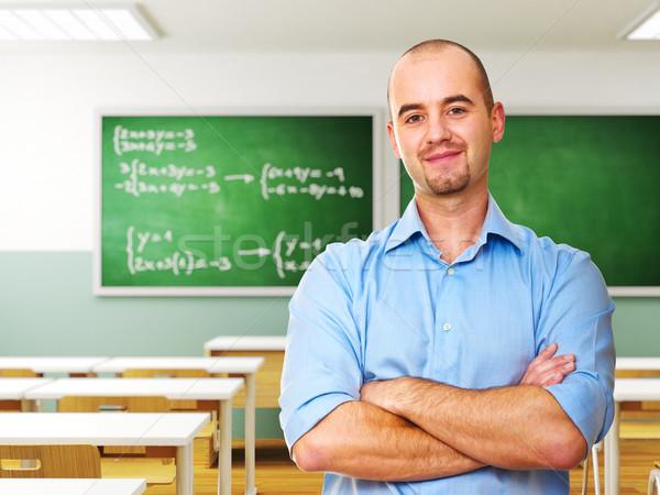 Tanár fiatal osztályterem 3D férfi iskola Stock fotó © tiero
