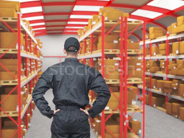Сток-фото: работу · склад · Постоянный · работник · вид · сзади