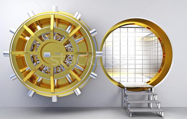 Agykoponya klasszikus 3D arany színek pénz Stock fotó © tiero