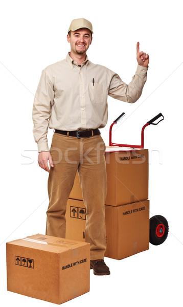 delivery man on white Stock photo © tiero