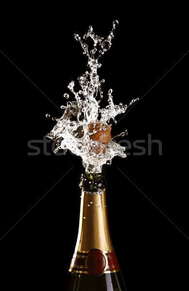 Foto stock: Cortiça · champanhe · garrafa · clássico · beber · ouro