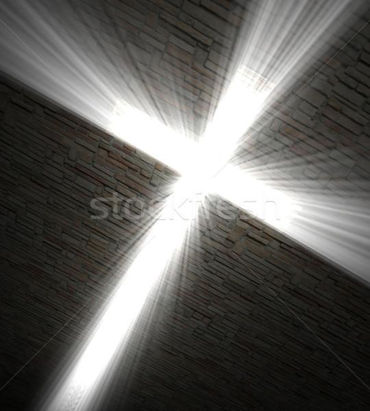 христианской крест свет 3D изображение Церкви Сток-фото © tiero