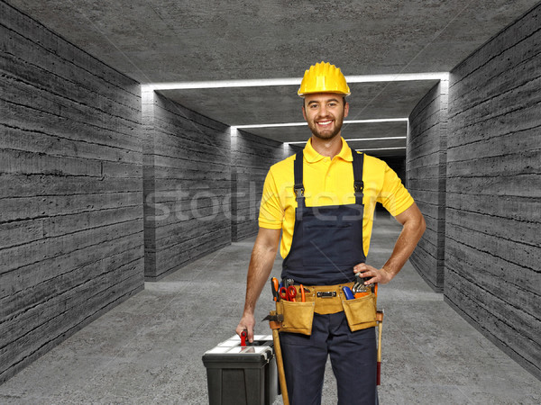 manual worker in concrete tunnel background Stock photo © tiero