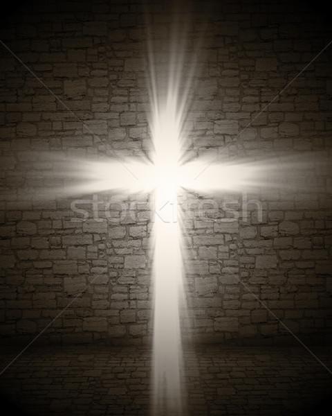 свет крест 3D изображение стены Церкви Сток-фото © tiero