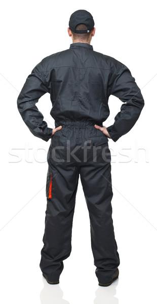 Stockfoto: Maakt · een · reservekopie · werknemer · permanente · garage · pak