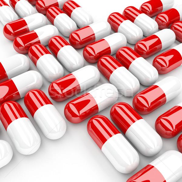 Stockfoto: Pil · 3D · afbeelding · klassiek · pillen · geneeskunde