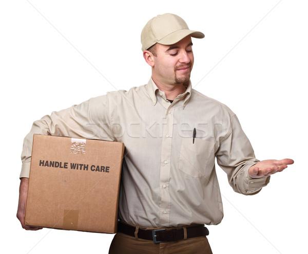 Montrent Rechercher main homme boîte Photo stock © tiero