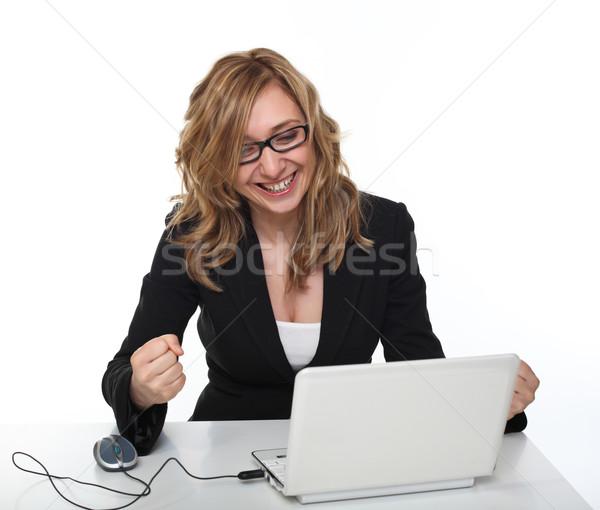 Kadın dizüstü bilgisayar portre mutlu çalışma netbook'lar Stok fotoğraf © tiero