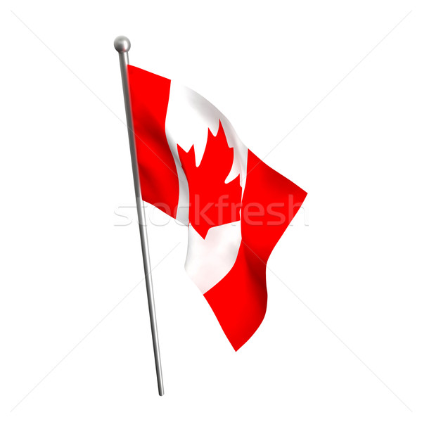 Photo stock: Drapeau · canadien · Canada · pavillon · isolé · blanche · feuille