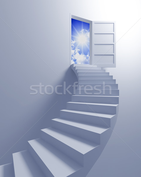 Lépcsőfeljáró szabadság kép 3D lépcső nyitott ajtó Stock fotó © tiero
