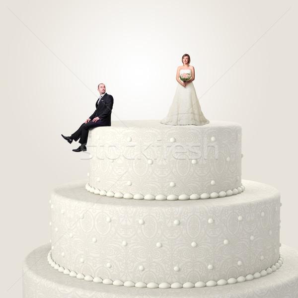 Сток-фото: счастливым · свадьба · 3D · свадебный · торт · смешные · пару