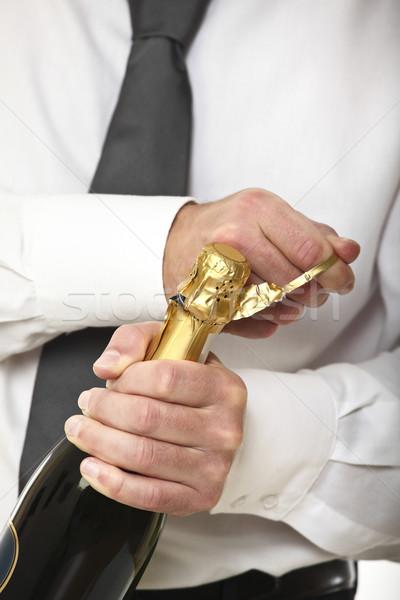 男 オープン シャンパン ボトル 白人 手 ストックフォト © tiero