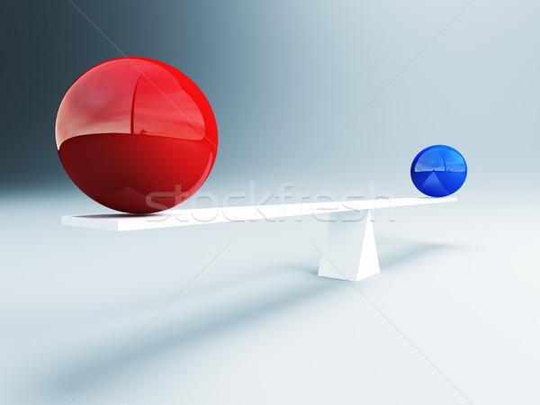 Kiegyensúlyozott golyók 3D kép piros kék Stock fotó © tiero