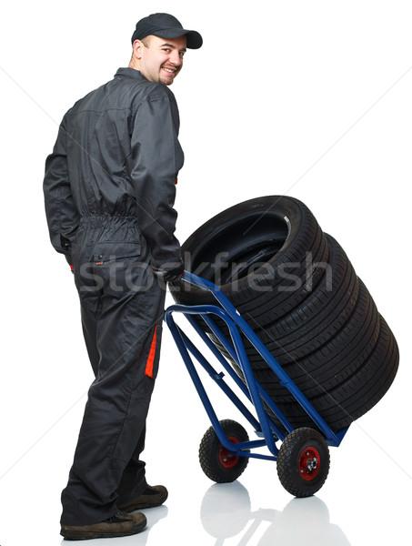 Stockfoto: Werknemer · banden · witte · man · jonge