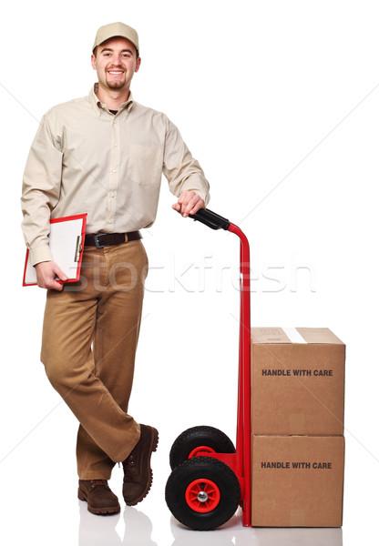 friendly delivery man Stock photo © tiero