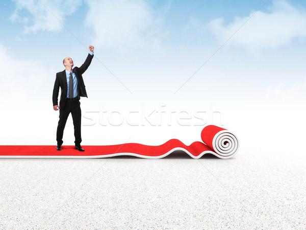 Siker szőnyeg boldog üzletember vörös szőnyeg csillag Stock fotó © tiero