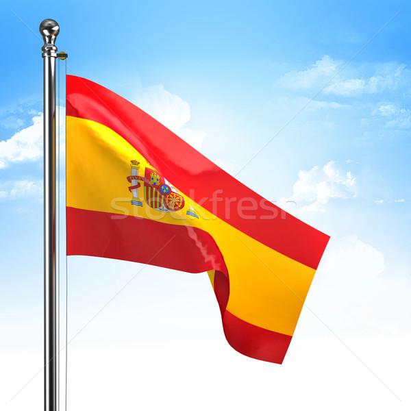 スペイン国旗 青空 雲 青 鋼 国 ストックフォト © tiero