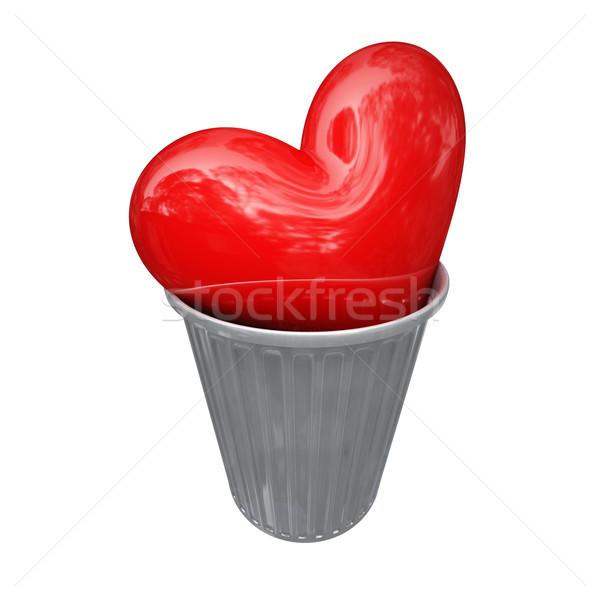 Vermelho coração cesto de lixo grande 3D metal Foto stock © tiero