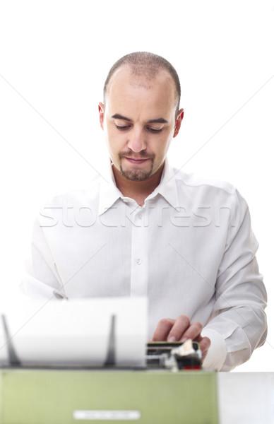Férfi klasszikus írógép szelektív fókusz kép papír Stock fotó © tiero
