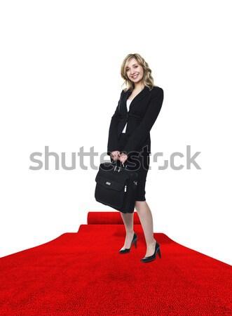Nő vörös szőnyeg mosolyog fiatal nő 3D lány Stock fotó © tiero