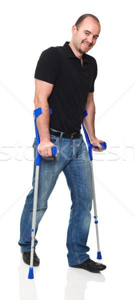 男 松葉杖 孤立した 白 薬 小さな ストックフォト © tiero