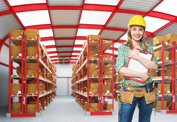 работник склад улыбаясь 3D девушки Сток-фото © tiero