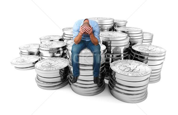 Zdesperowany człowiek Dolar monety 3D biały Zdjęcia stock © tiero