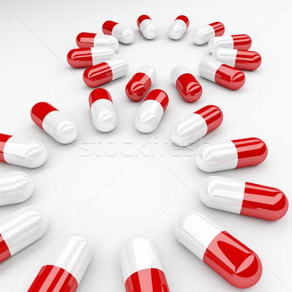 Foto stock: Pílula · ilustração · 3d · vermelho · branco · pílulas · ajudar