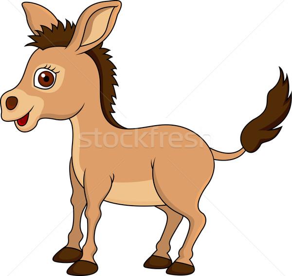 Bonitinho burro desenho animado sorrir cara natureza Foto stock © tigatelu