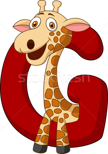Alfabet giraffe cartoon papier boek school Stockfoto © tigatelu