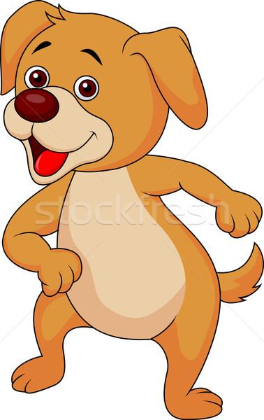 Foto stock: Bonitinho · cão · desenho · animado · bebê · sorrir · cara