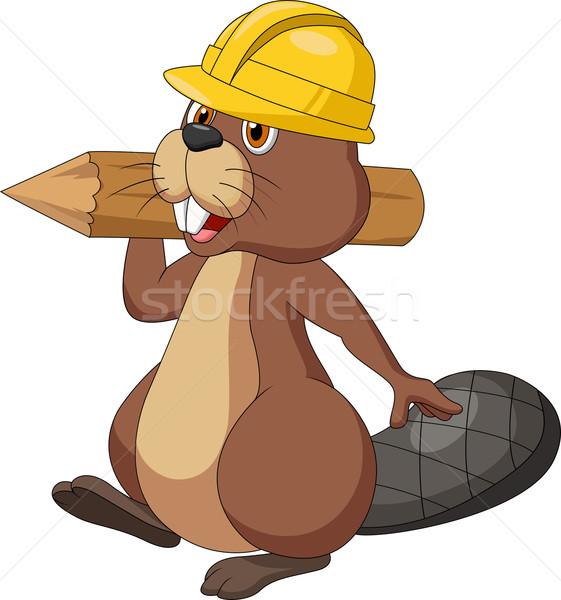 Bonitinho desenho animado castor segurança seis Foto stock © tigatelu