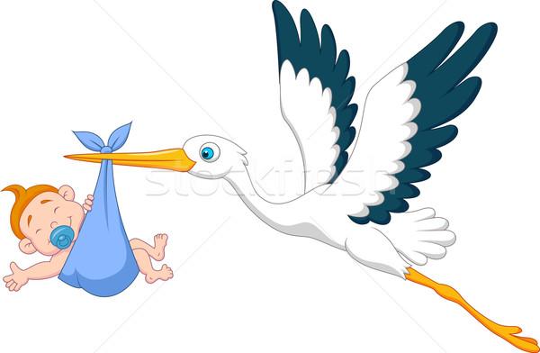 Leylek Bebek Erkek Anne Mavi Boyama Vektör Ilüstrasyonu