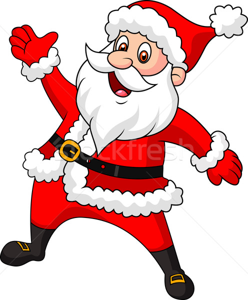 Happy Santa cartoon waving hand Stock photo © tigatelu