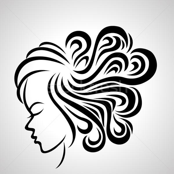 Ilustracja kobiet długie włosy stylu ikona twarz Zdjęcia stock © tigatelu