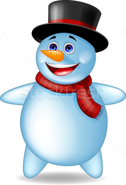 Stock fotó: Hóember · rajz · férfi · boldog · hó · jég