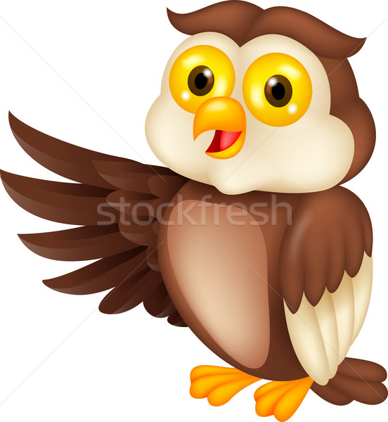 Cute owl cartoon waving Stock photo © tigatelu