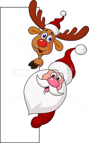 Santa clause and deer with blank sign  Stock photo © tigatelu