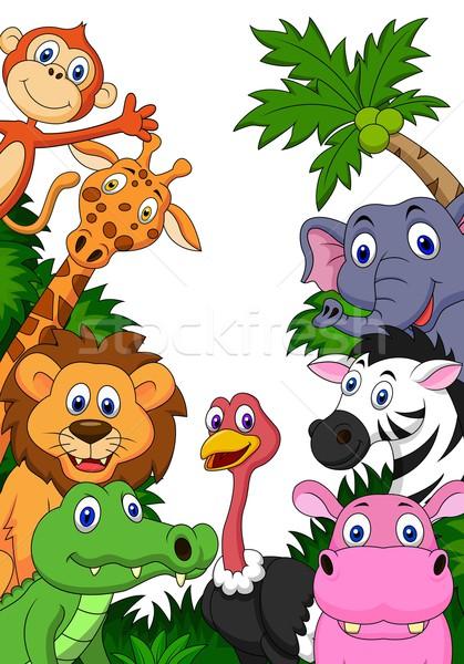 Stock photo: Wild animal cartoon background
