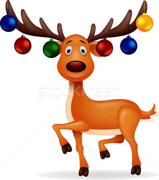 Deer cartoon with christmast ball Stock photo © tigatelu