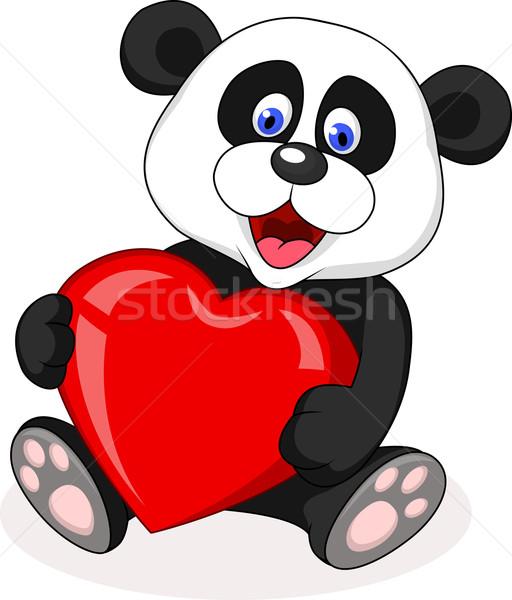Panda cartoon Rood hart illustratie baby Stockfoto © tigatelu