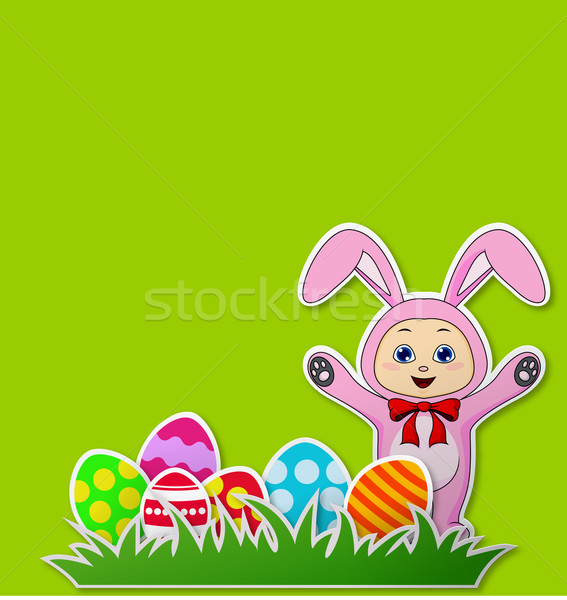 Paper card with Easter eggs and baby with rabbit costume Stock photo © tigatelu