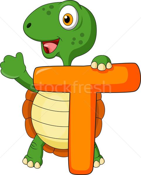 Alfabeto tartaruga cartoon carta scuola studente Foto d'archivio © tigatelu