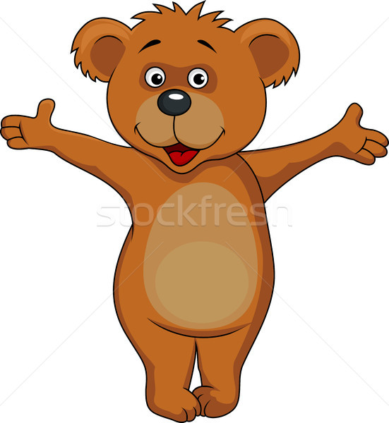 Cute brown bear waving hand Stock photo © tigatelu